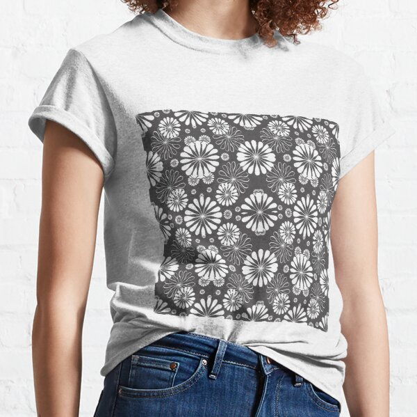 Monochrome #pattern #abstract #decoration #illustration flower art textile design vector element ornate tile textured seamless Classic T-Shirt