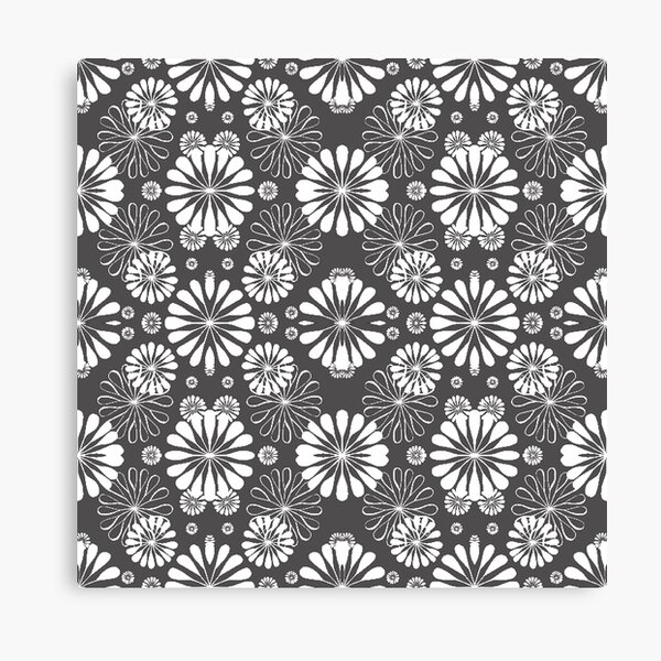 Monochrome #pattern #abstract #decoration #illustration flower art textile design vector element ornate tile textured seamless Canvas Print