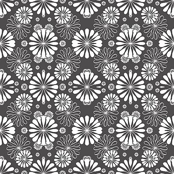 Monochrome #pattern #abstract #decoration #illustration flower art textile design vector element ornate tile textured seamless by znamenski