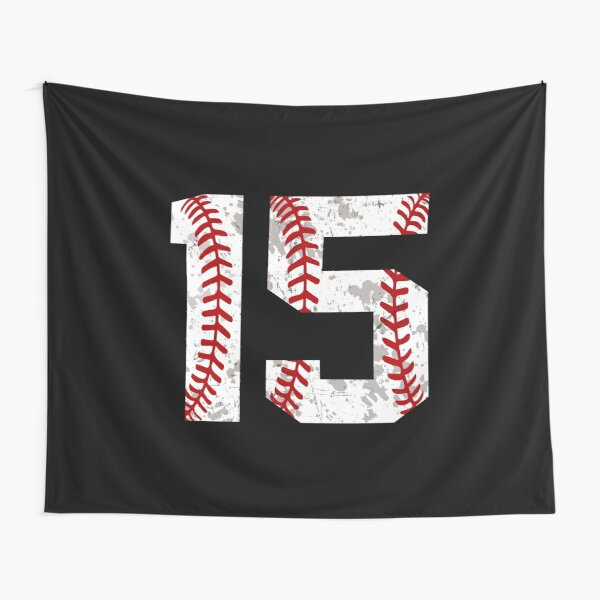 Retro Vintage Baseball Number 15 Softball Mom Birthday Fifteen Tapestry