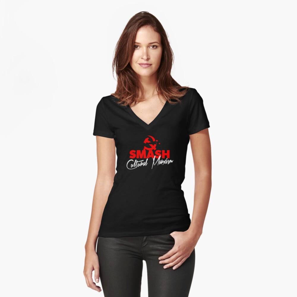 SMASH CULTURAL MARXISM Fitted V-Neck T-Shirt