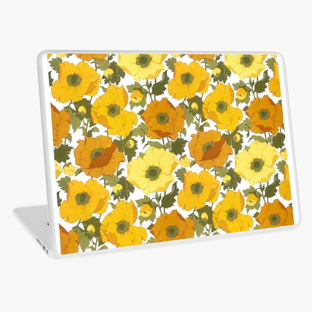 Vintage Wallpaper Yellow Poppies Aged Texture Laptop Skin By