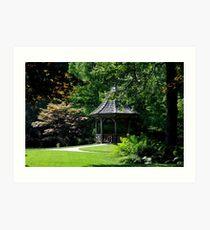 Gibbs Garden Gazebo on a pond Art Print