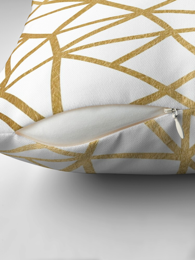 Alternate view of Gold foil geometric mosaic Throw Pillow