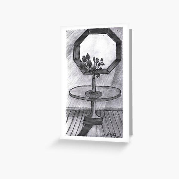 BROKEN VASE ON GLASS TABLE Greeting Card