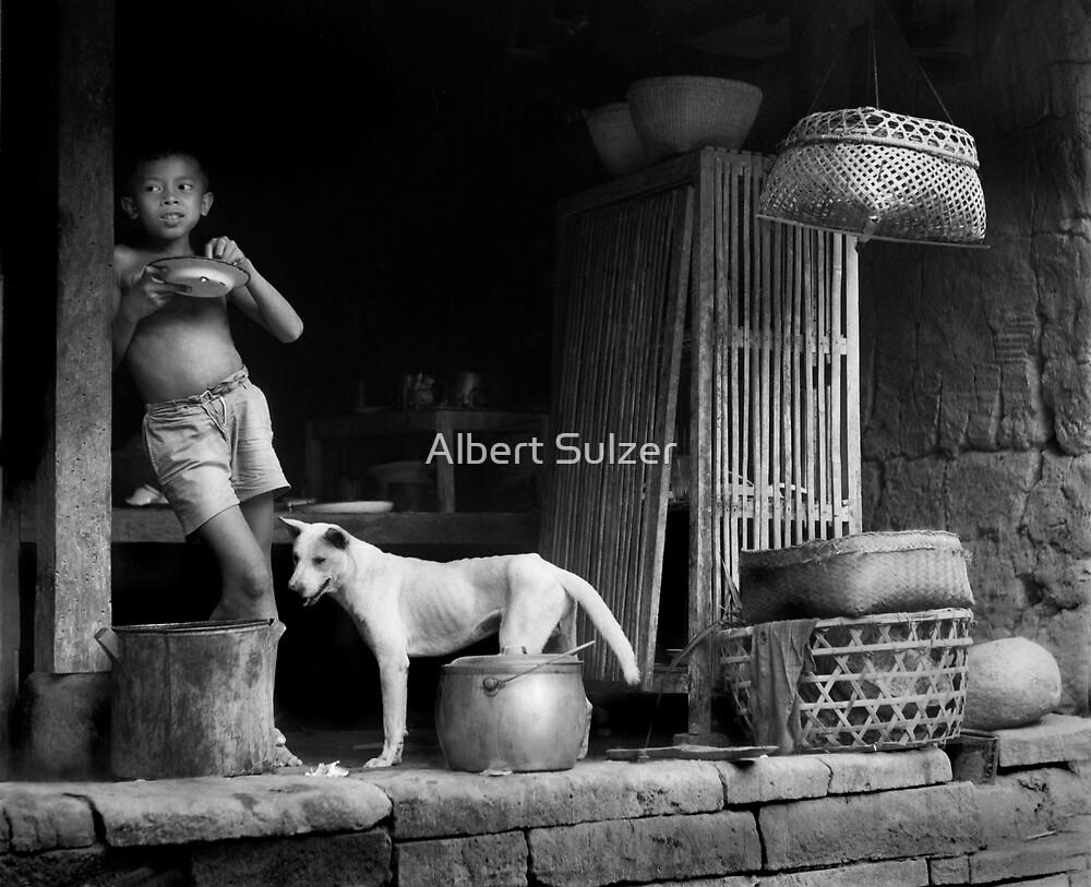 Bali Boy With Dog by Albert Sulzer