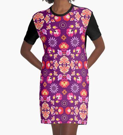 Fiesta Folk Purple #redbubble #folk Graphic T-Shirt Dress