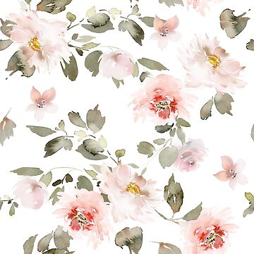 Floral Pink Pastel Watercolor Pattern by junkydotcom