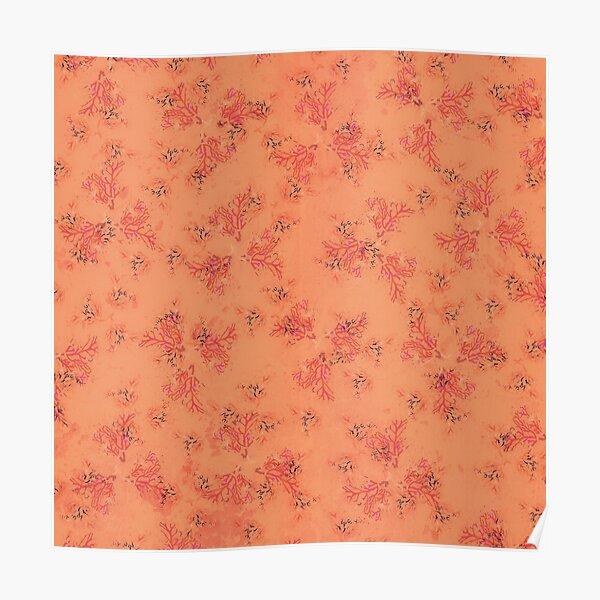 Orange and Pink Coral Print Poster