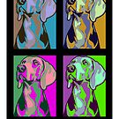 Colourful Weimaraner poster-style portrait by nimbus88