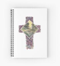 Christian Cross bedeckt mit Veilchen mit Wiesenszene Spiralblock