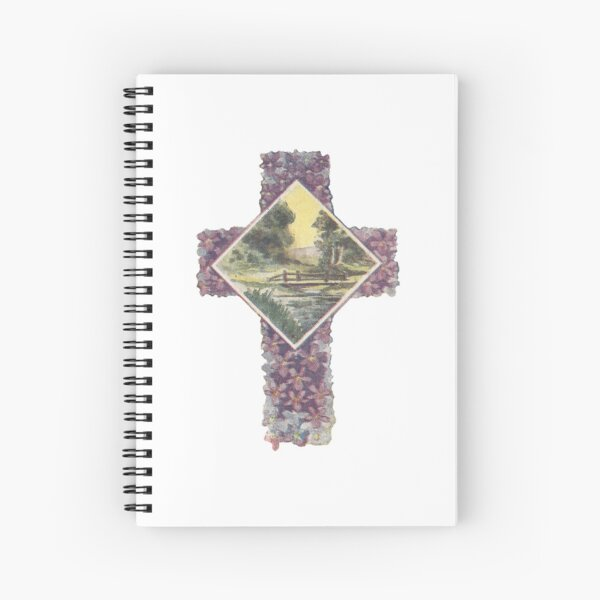 Christian Cross Covered in Violets with Meadow Scene Spiral Notebook