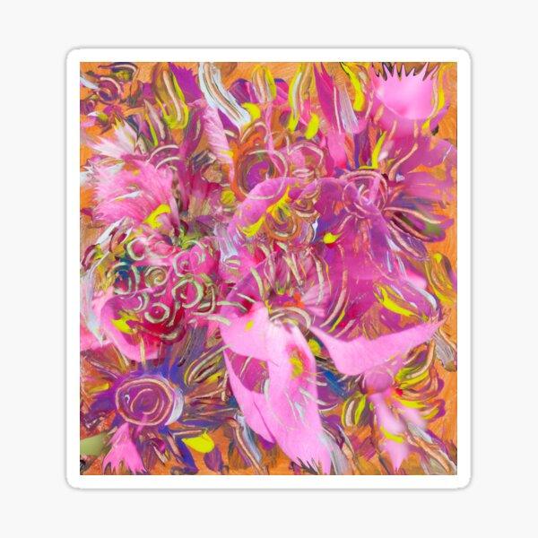 pink orange flower abstract art Sticker