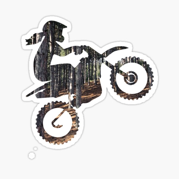 Dirt Bike Girl Silhouette, with Trees Sticker