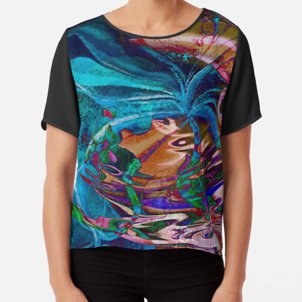 colorful abstract swirl art Chiffon Top