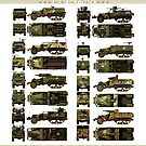 M2/M3 Half Track Car variants side, top, front and rear by TheCollectioner