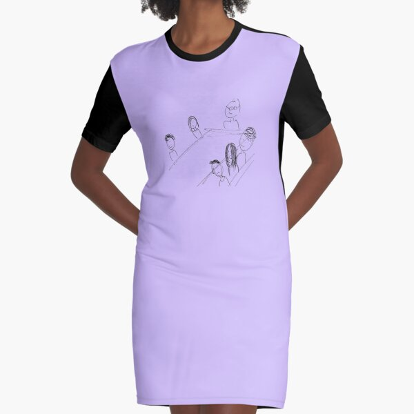 Breakfast With Friends Graphic T-Shirt Dress