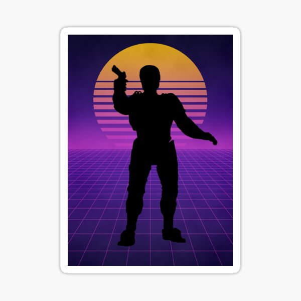 Retro Synthwave RoboCop Silhouette Poster Sticker
