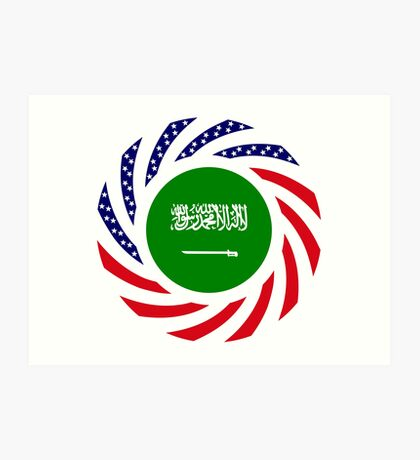 Saudi American Multinational Patriot Flag Series Art Print