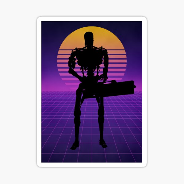 Poster Retro Synthwave The Terminator T-800 Silhouette Sticker
