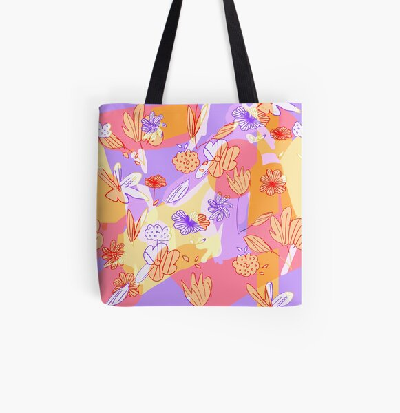 Happy Flowers All Over Print Tote Bag