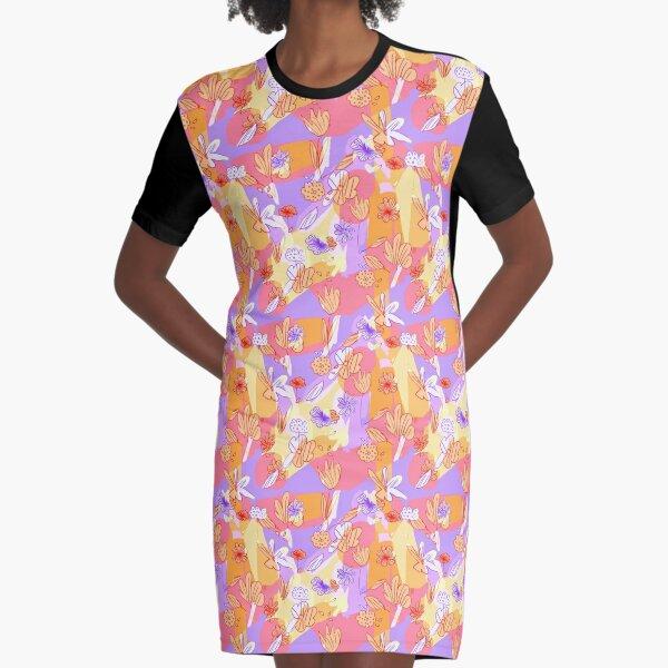 Happy Flowers Graphic T-Shirt Dress