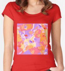Happy Flowers Tailliertes Rundhals-Shirt