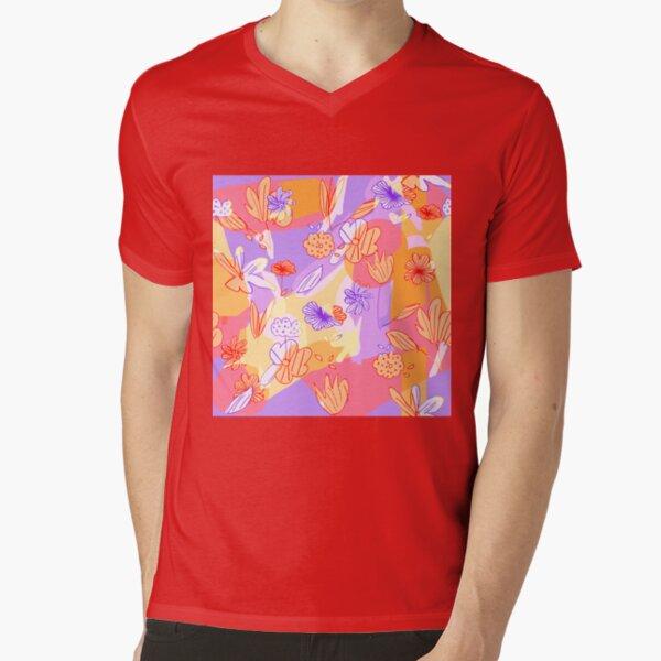 Happy Flowers V-Neck T-Shirt