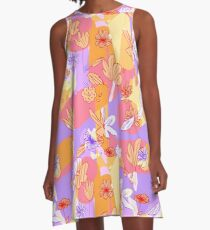 Happy Flowers A-Linien Kleid