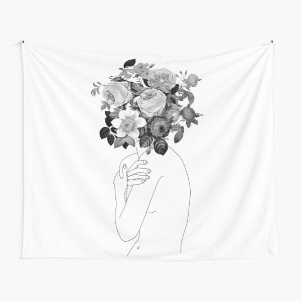 Girl with a flower head Tapestry