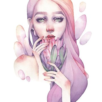 Cute watercolor portrait of a girl holding protea flower by Glazkova
