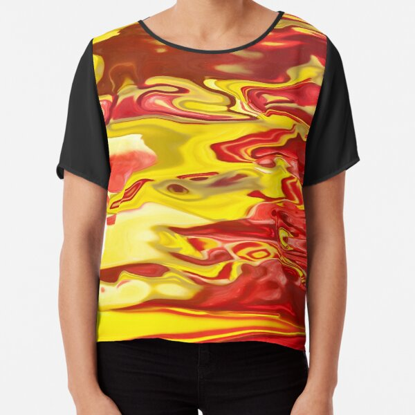 red and yellow flow Chiffon Top