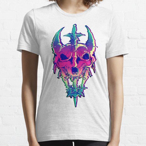 Rainbow Glitch Dragon Skull Essential T-Shirt