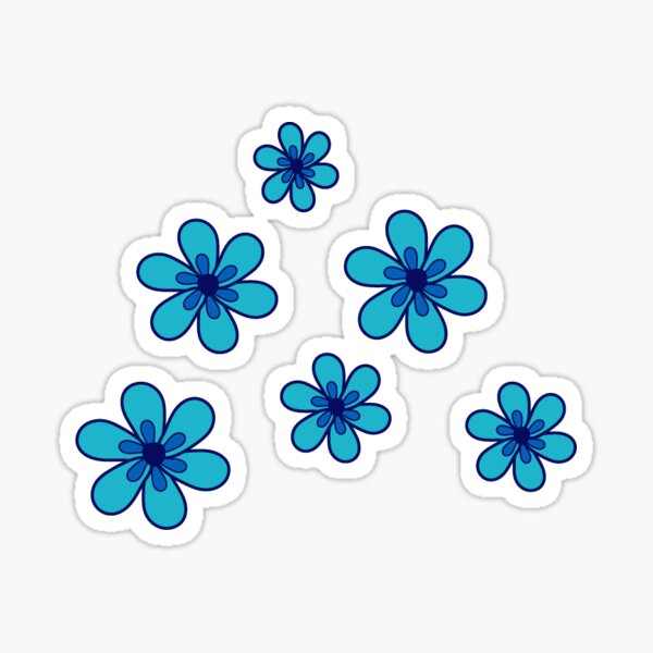 blue flowers collection  Sticker