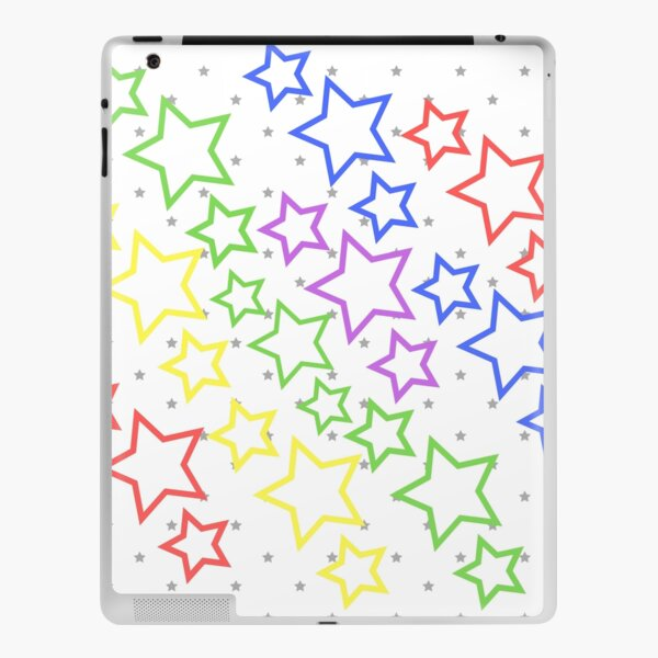 Rainbow stars on white iPad Skin