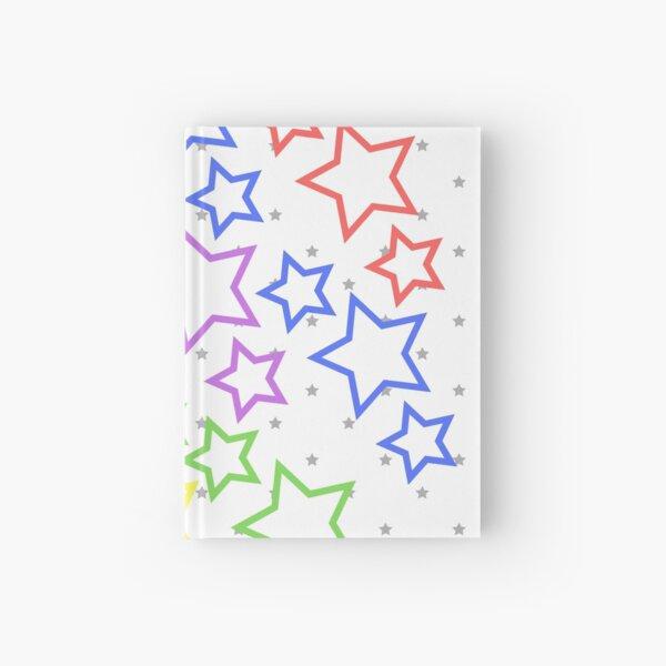 Rainbow stars on white Hardcover Journal