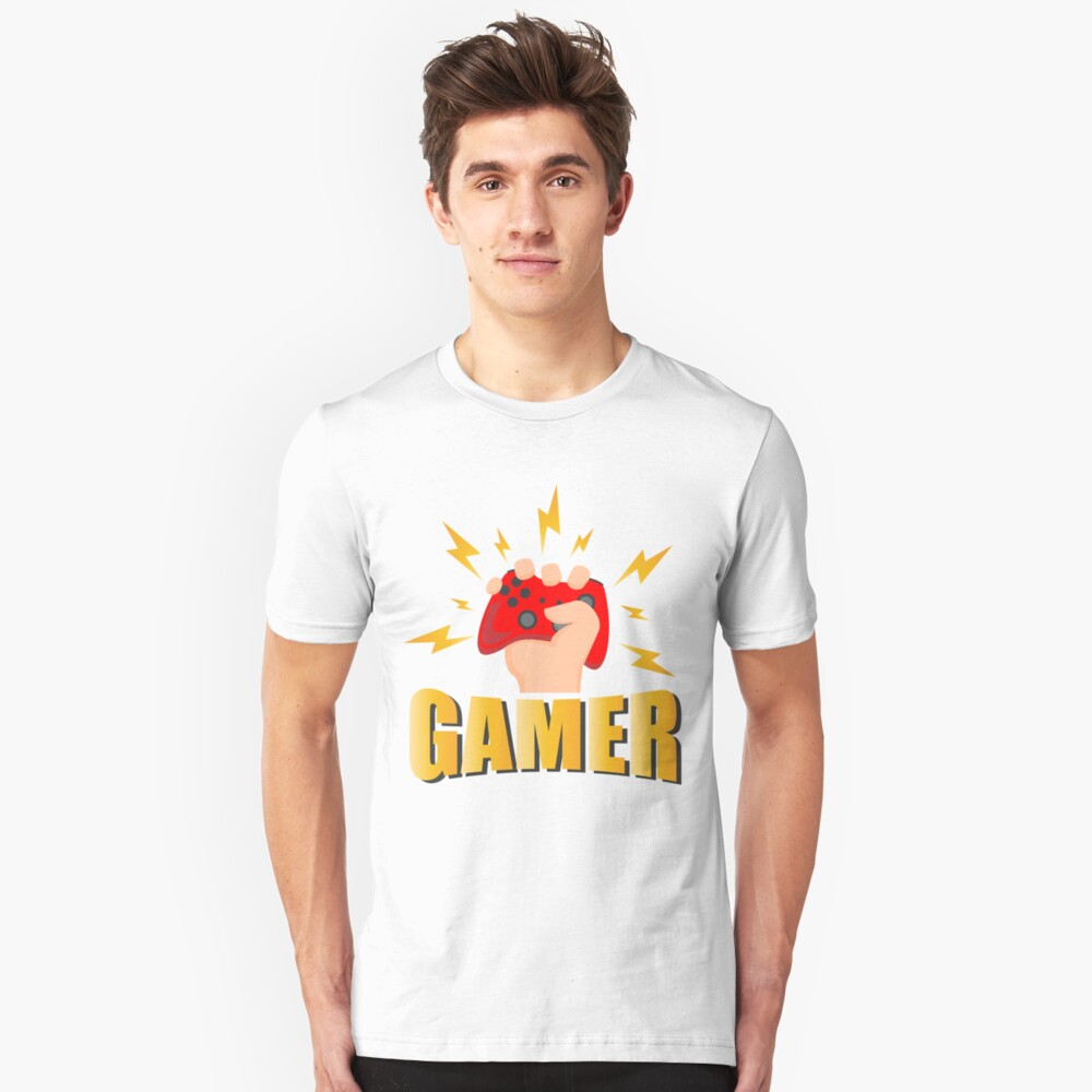 Gamer - Game Controller Control - Lighting Bolts - Gaming Drawing - Video Games Lover Unisex T-Shirt