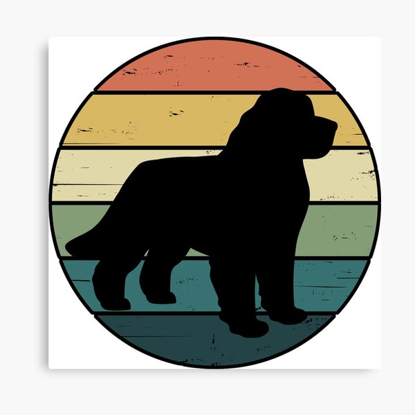 Retro Rainbow Newfoundland Dog Canvas Print