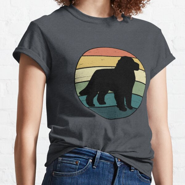 Retro Rainbow Newfoundland Dog Classic T-Shirt