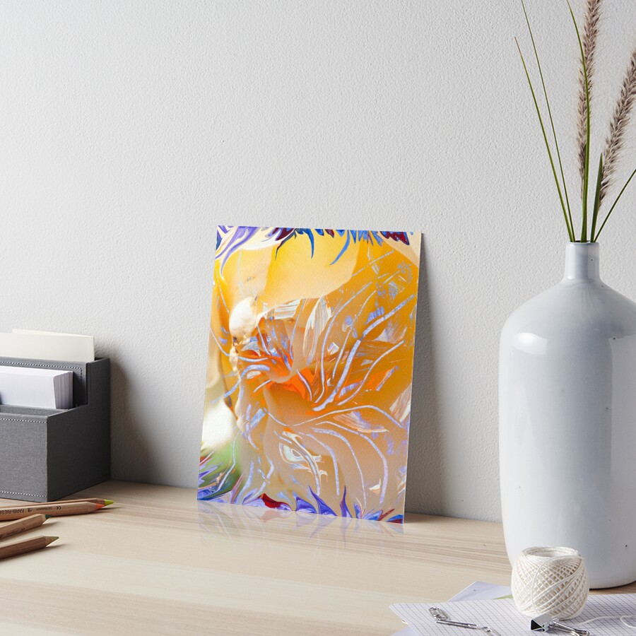 warm colors flower abstraction Art Board Print