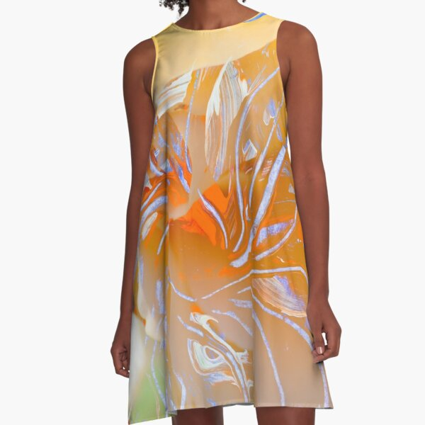 warm colors flower abstraction A-Line Dress