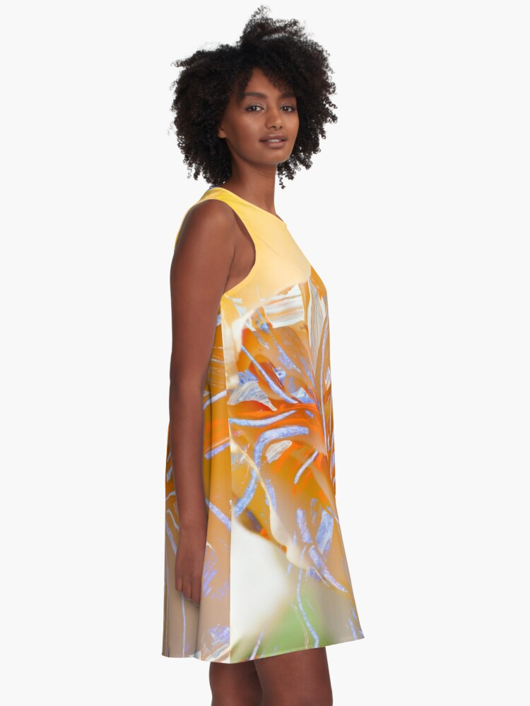 Alternate view of warm colors flower abstraction A-Line Dress