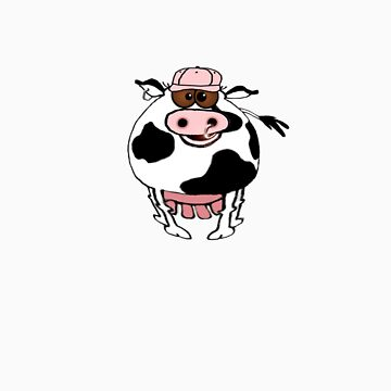 Cartoon of a fat cow wearing a cap! by graphicdoodles