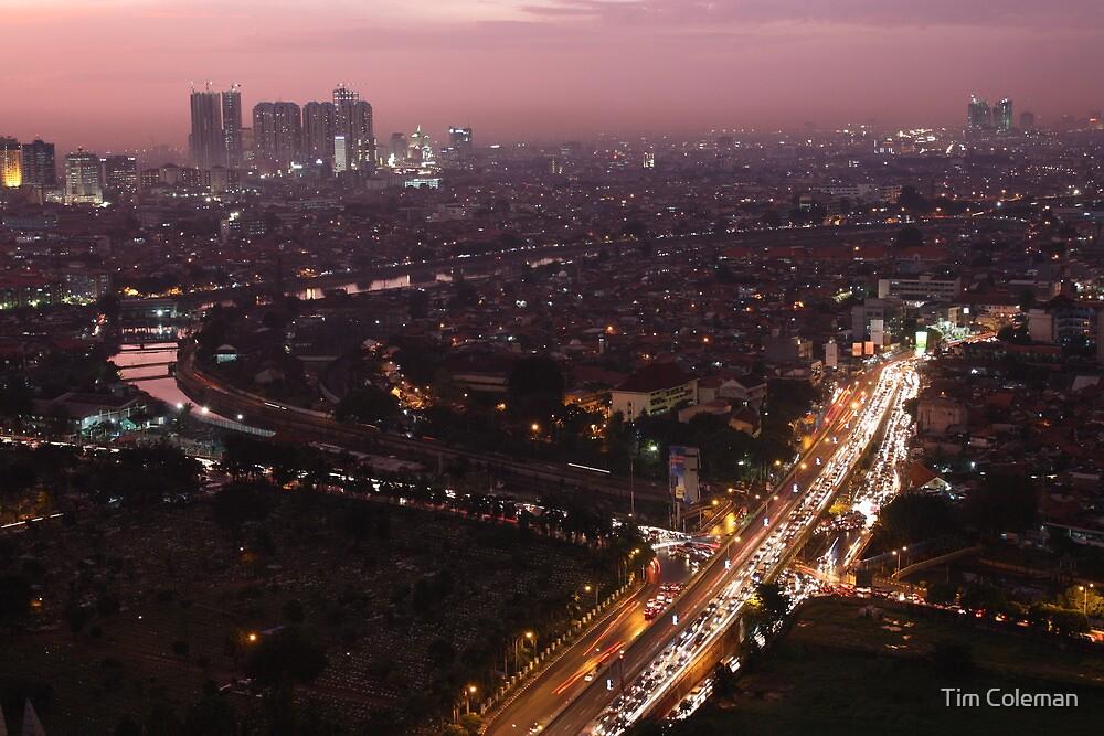 Night descends over central Jakarta by Tim Coleman
