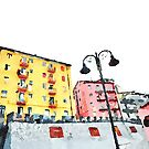 Colored buildings with street lamps by Giuseppe Cocco