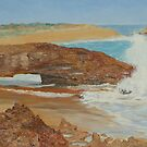 Oil on Canvas, Natures Arch, Limestone Coast, Beachport. S.A.  by Rita Blom