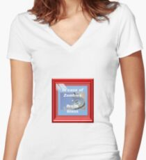 In case of Zombies- Break glass Women's Fitted V-Neck T-Shirt