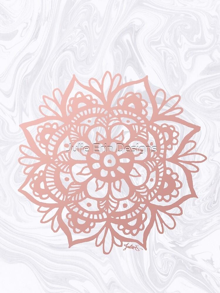 Rose Gold Mandalas on Marble by julieerindesign