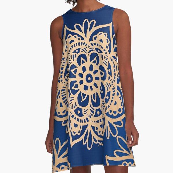 Blue and Gold Mandala A-Line Dress