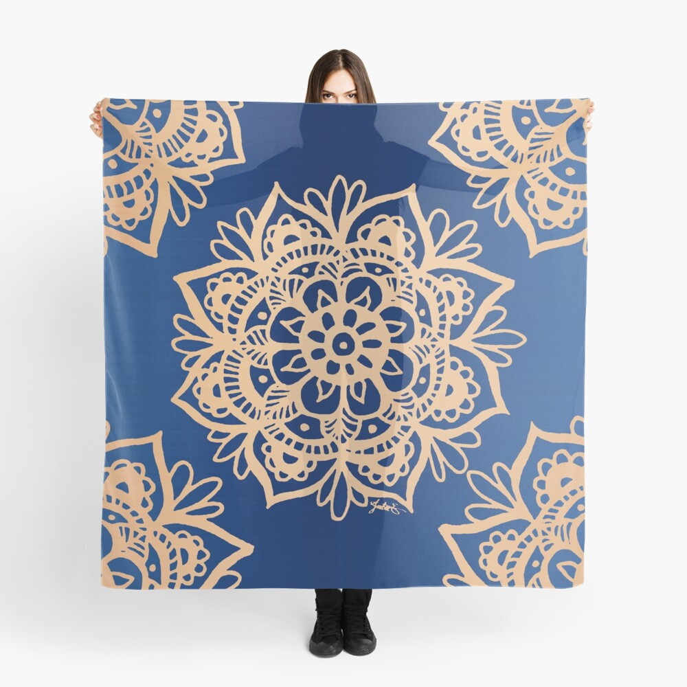 Blue and Gold Mandala Scarf Front